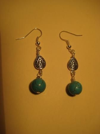 Turqouise & Sterling Earrings.  Round imitation turquoise drops and silver-plated, teardrop shaped drops. Fishhook style earring hooks.  $2.99 available at http://www.beaddesignsbysandy.com/shop/clearance-items/