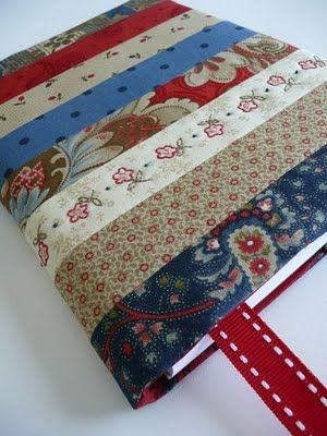 "DIY journal cover... use recycled paper and fabric scraps to ""quilt your own journal""- goes along with stories too."