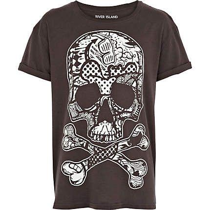 boys black glow in the dark skull t shirt riverisland