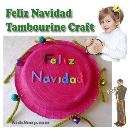 La Parranda is a Christmas tradition in Puerto Rico in which musicians visit the homes of neighbors to sing and share food in celebration. Children can act out their own musical Christmas procession with these homemade Feliz Navidad tambourines.