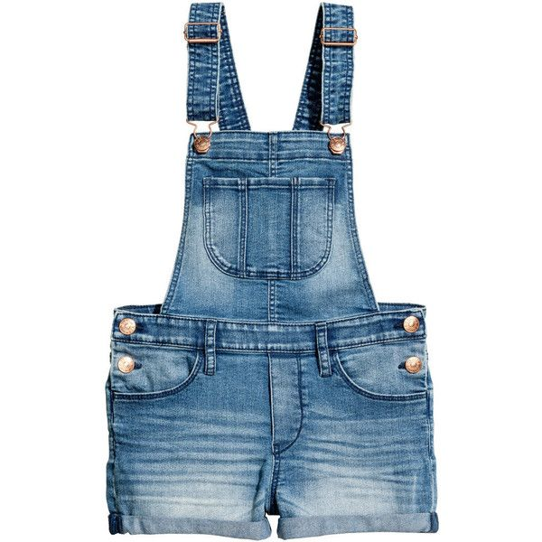Denim Bib Overall Shorts $29.99 ($30) ❤ liked on Polyvore featuring shorts, blue shorts, pocket shorts, denim shorts, short overalls and overall shorts