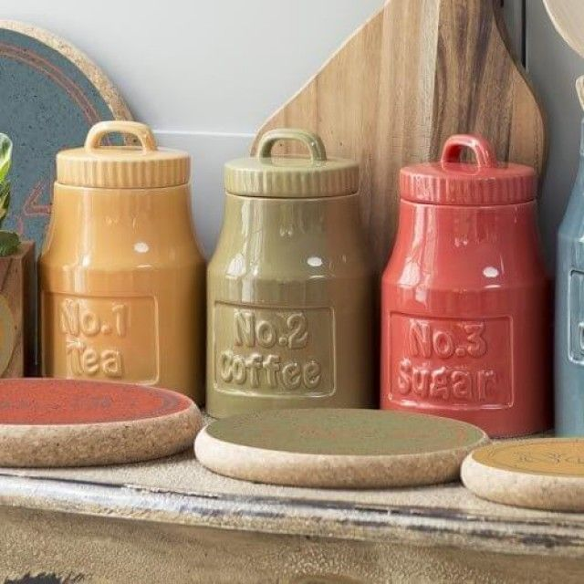 T&G Woodware Colour By Numbers Storage Jar, No.1 Tea in Ochre Yellow