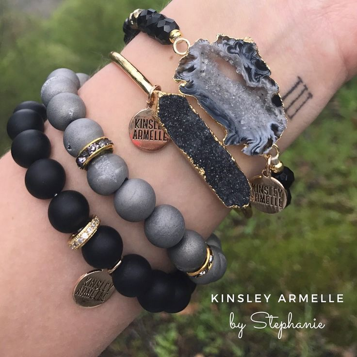 This black bracelet stack is to die for! I already have the Geode Slate & Tailor Agate bracelet, too.