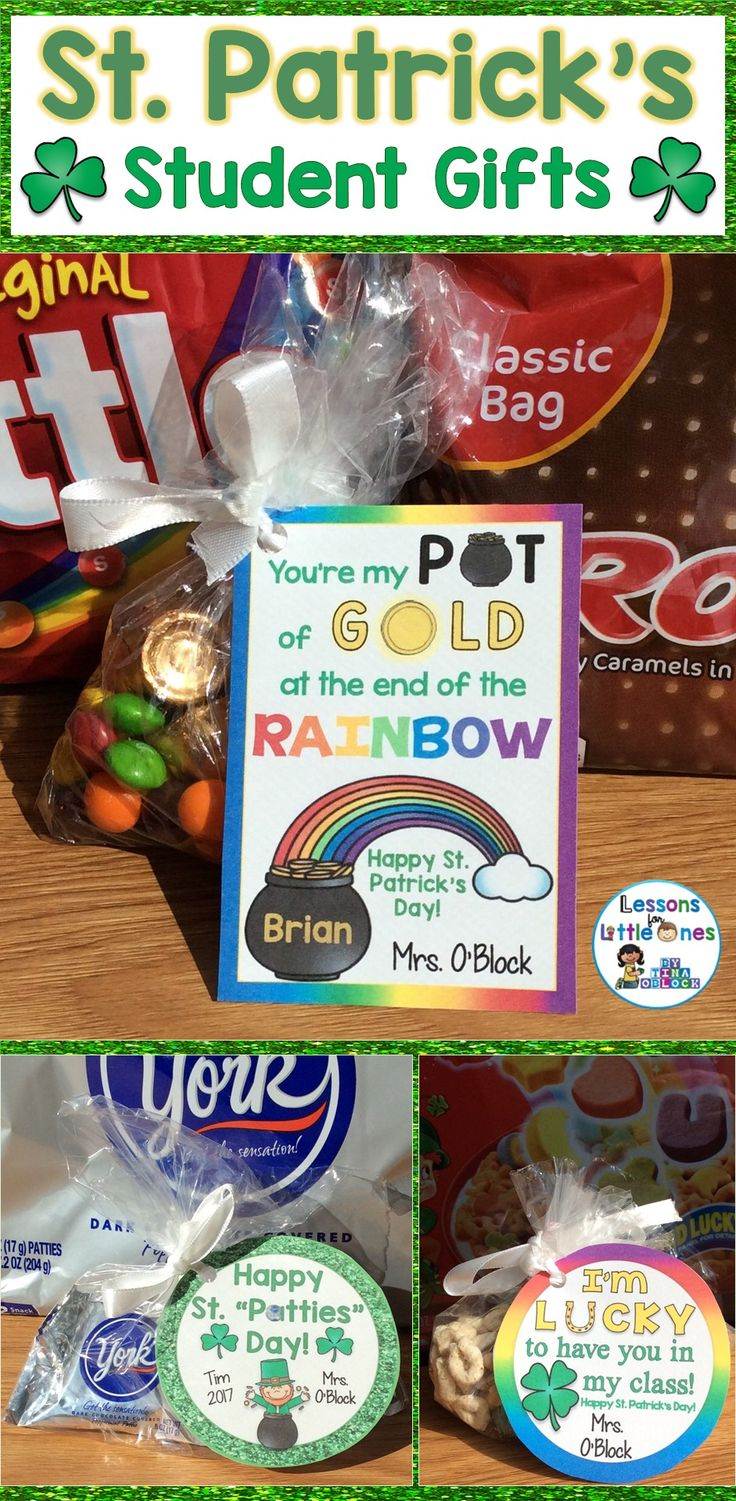 Easily create personalized, memorable St. Patrick's Day gifts for your students with these creative and fun student gift tags. Simply print and attach to inexpensive treats such as Lucky Charms cereal, Peppermint Patties, Skittles & Rolo candy. Perfect treats for your St. Patrick's Day party!
