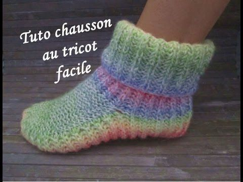 Tuto chaussons adulte en tricot facile - YouTube