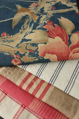 Antique Vintage French Fabrics Materials Project Bundle Blues Reds Pillow | eBay