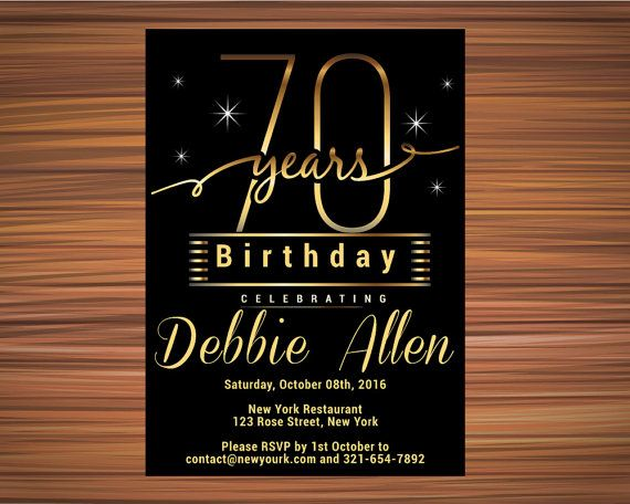 SURPRISE 70th BIRTHDAY INVITATION Black and by UniqueGoldenCards