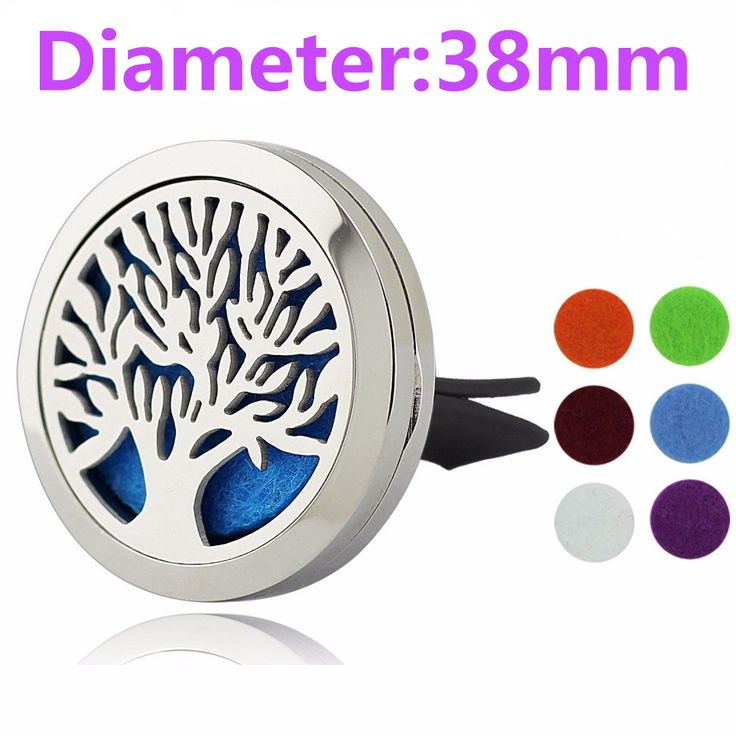38mm Tree of Life Magnet Diffuser Stainless Steel Car Aroma Locket Free Pads Essential Oil Car Diffuser Lockets With 6 Pads