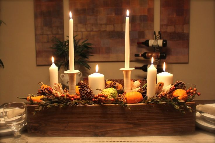 15 Glamorous Table Decoration for Thanksgiving : Inspiring Centerpiece Table Decoration For Thanksgiving With Dining Table Wooden Box Candle Lights Featuring Pumpkins Pines Mistletoes Also Wine Glasses Cutlery Set Table Runner Plus Bottles Of Wine House Plant Pictures