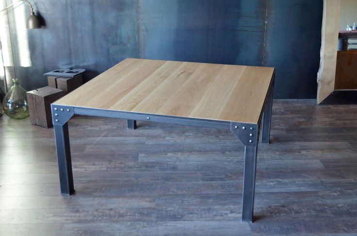 26 best images about table industrielle bois acier brut - Table a manger sur mesure ...