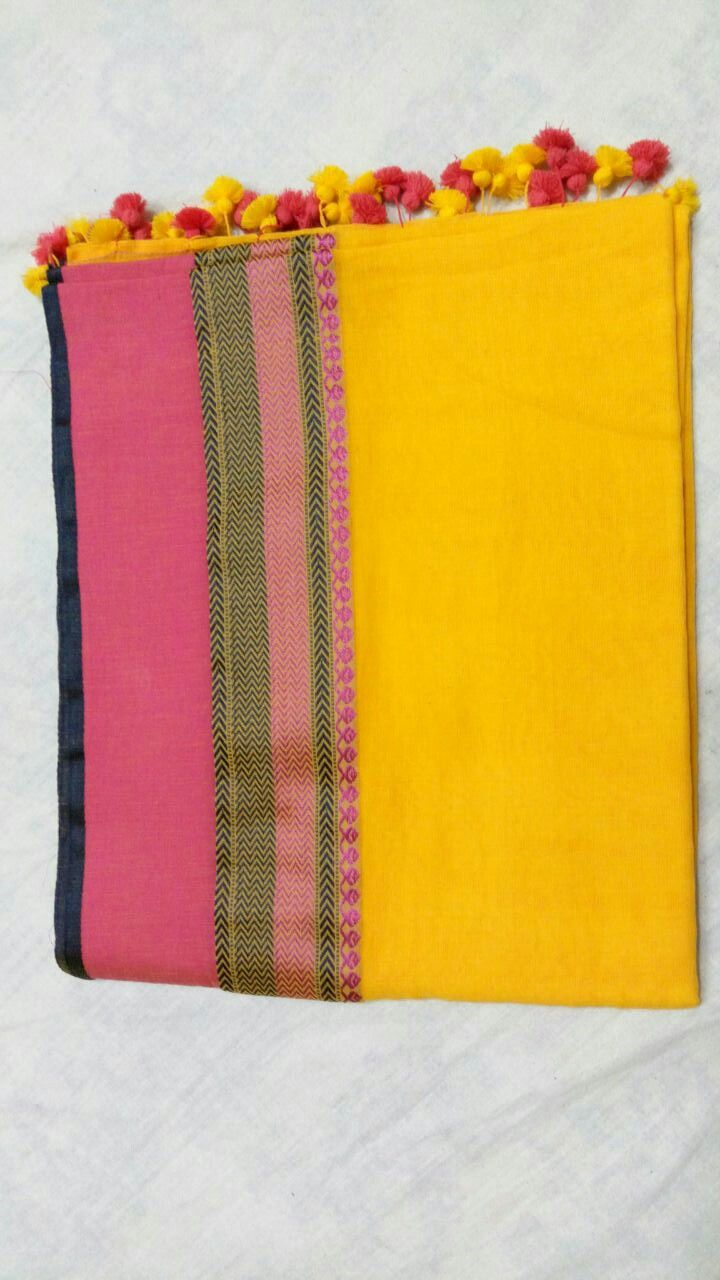 Yellow and pink Bengal cotton saree with tassels