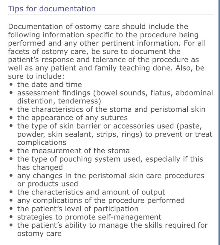 Documentation of colostomy