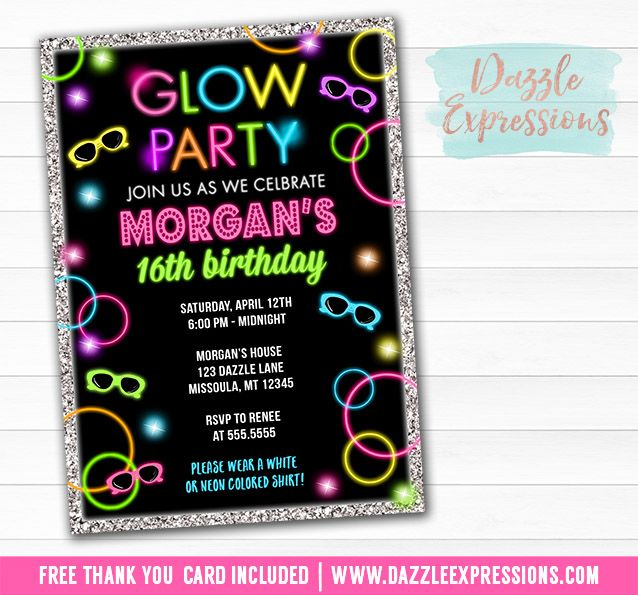 Printable Glow in the Dark Birthday Invitation | Sweet Sixteen | Kids or Teen Party | Girls 16th Birthday | Disco Dance Party | Just Dance Invite | Glow Party | 70's Event | Favor Tags | Banner | Food Labels | Party Signs | Matching Party Package Decor!