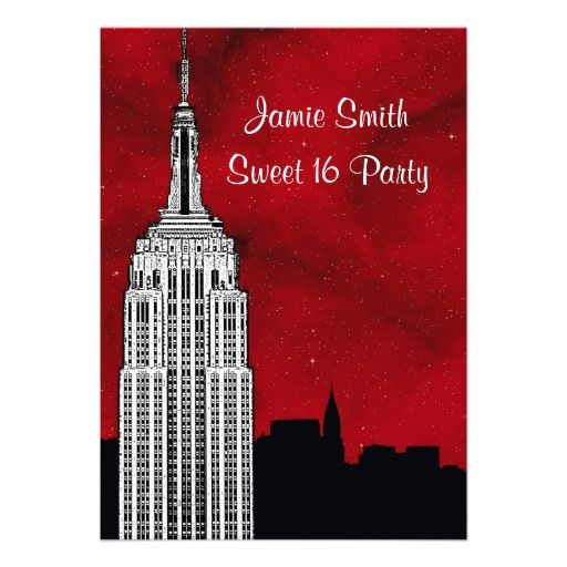 NYC ESB Skyline Silhouette Red Starry BG2 Sweet 16 Custom Invitations
