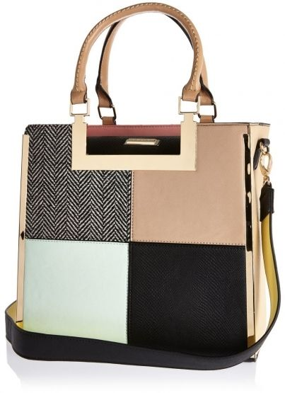 River Island Womens Pink patchwork tote handbag