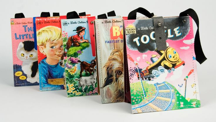 Handbags made with old children books, cereal boxes...