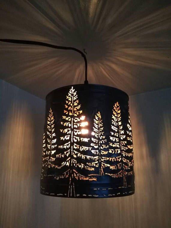 Tree shadow lamp. Forest pine tree metal art. Metal pendant