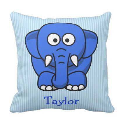 Custom Cute Funny Cartoon Elephant Throw Pillow - baby shower gifts  party giftidea