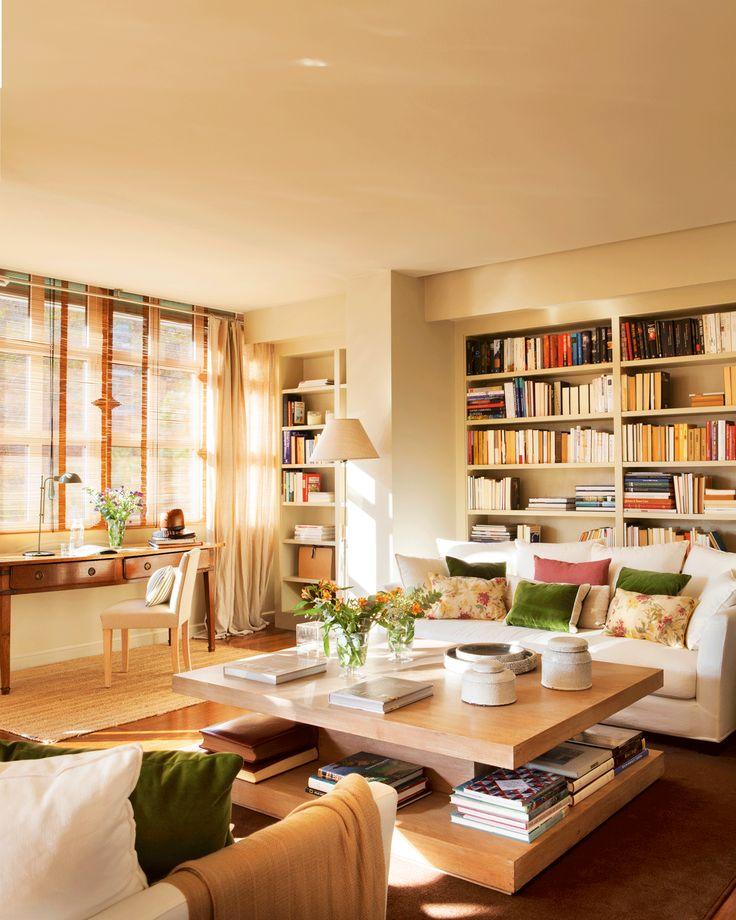 Salón con librería, mesa de centro con balda para guardar y mesa de escritorio 00423884