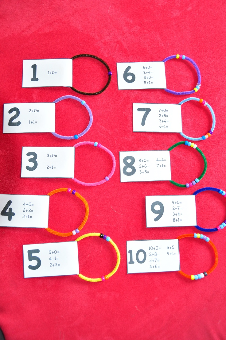 I made and printed all the different ways that you can add numbers 1-10 and added pipe cleaner and beads to them. This is great for teaching addition, but was also very good for teaching odd and even numbers. My four year old understood odd and evens in about a minute from explaining it. Even numbers split evenly and odds don't. This was a great visual.