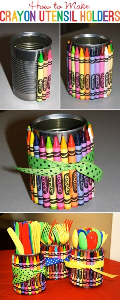 Cómo hacer... Recipientes de Crayolas [ How to make... Crayon Utensil Holders ]