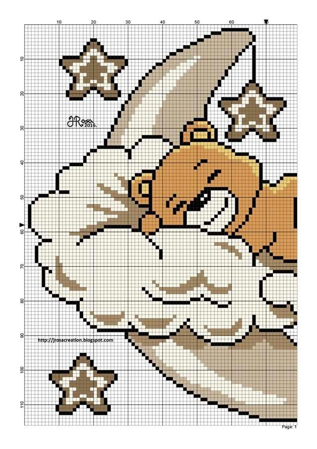 Teddy on Moon Cloud Left Side graph Baby Cute Stars  https://au.pinterest.com/elenamarzinotto/