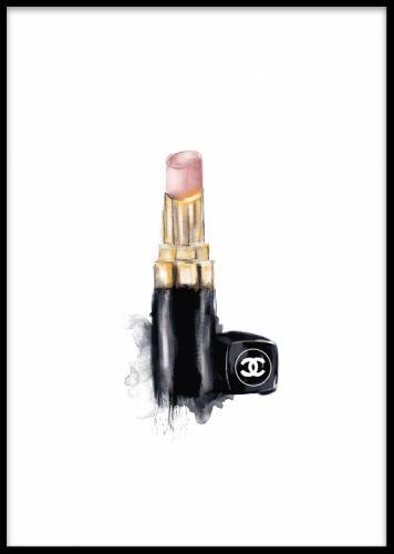 Stilren tavla med illustration av Chanel läppstift. Snygg stilren poster med fashion / mode stil.