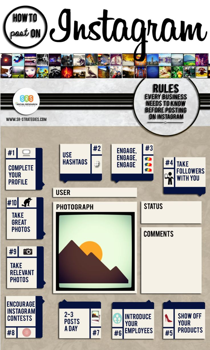 """SOCIAL MEDIA - """"10 rules that every business needs to know before they post on #Instagram - #infographic #socialmedia""""."""