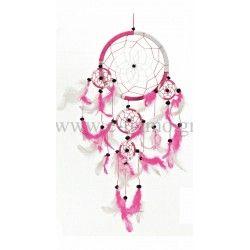 Διακοσμητική Ονειροπαγίδα Ρόζ Λευκή Στολισμού Γάμου ή Βάπτισης Φ12cm
