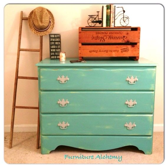 Aqua And Mint Green Vintage Dresser  Shabby Chic And Rustic Painted  Furniture