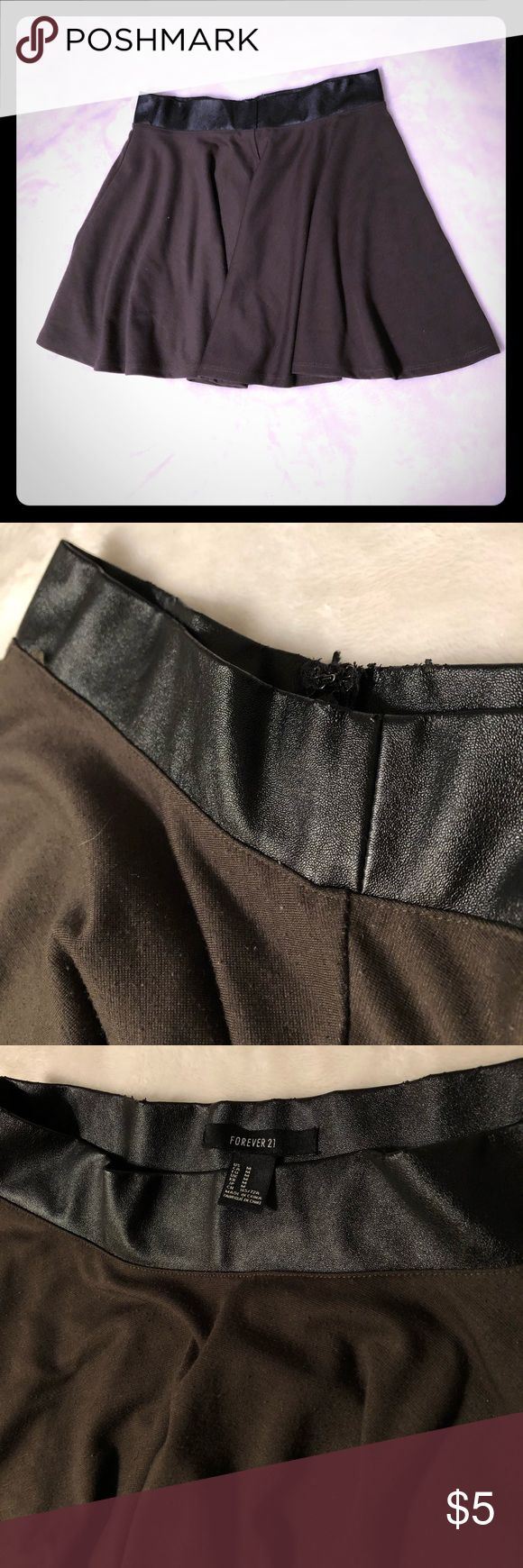 Dark Green Skater Mini Skirt Gently used army green skater skirt with black faux leather waistband by Forever 21. Size medium, and fits true to size. The faux leather trim has a little damage as seen in the pictures, and some slight pilling but otherwise great condition! Forever 21 Skirts Circle & Skater