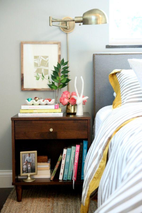 Bedside table // head board // grey vs mustard