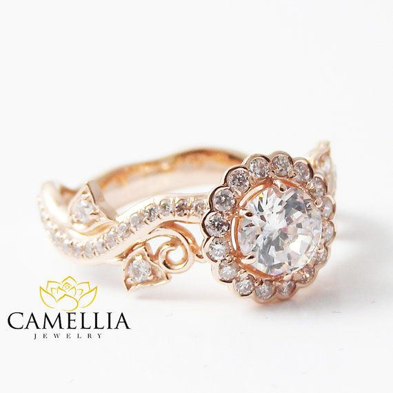 White Sapphire Engagement Ring-Rose Gold Diamond Engagement Ring-14K Rose Gold…