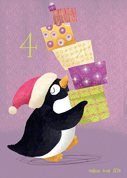 Penguin with gifts by Melissa Iwai