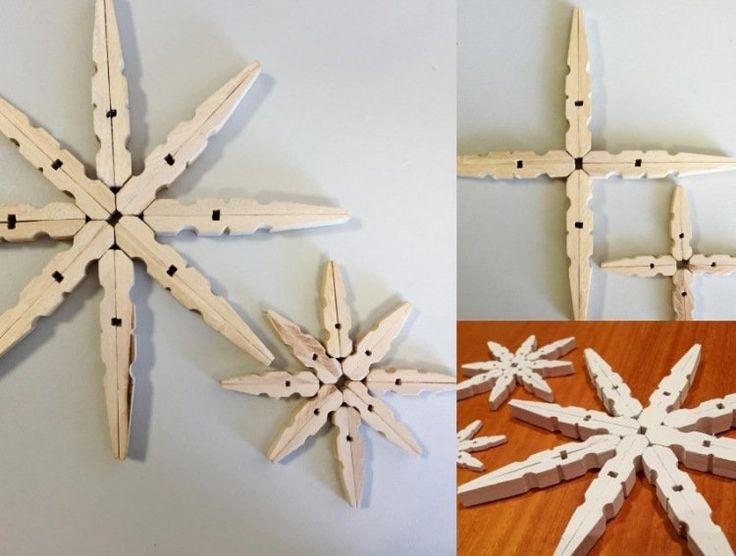 décoration scandinave Noël en étoiles en pinces à linge en bois                                                                                                                                                      Plus