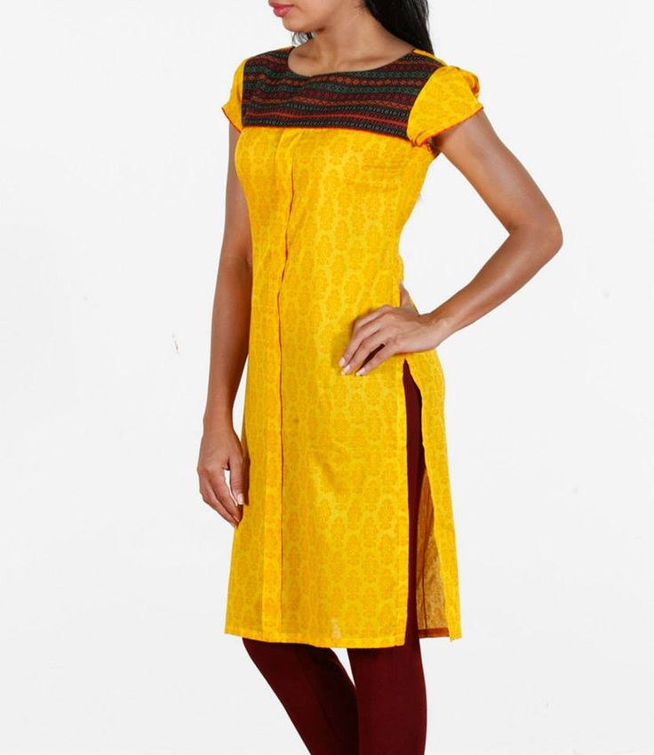 Yellow! Shop at http://www.shalinijamesmantra.com/rainbow-in-your-wardrobe/bright-yellow-cotton-kurta.html