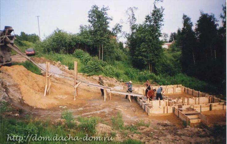 Фундамент дома на участке на склоне