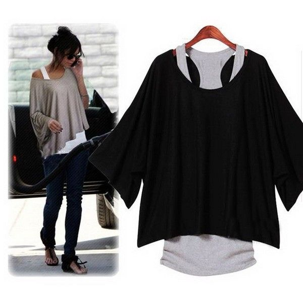 Black batwing blouse - 14 USD
