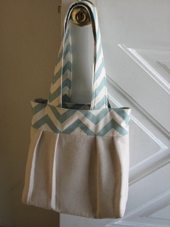 Tote bag   natural and blue chevron fabric by LaughingStitchesbyNL, $28.00