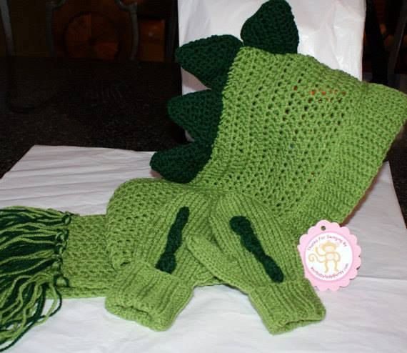 Dino Scarf and matching mittens by CheekeemonkeeStore on Etsy