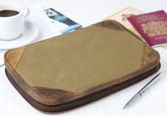 Our khaki canvas travel organiser will carry all travel documents for you, family, partners or friends. #travelgift #organiser #canvas