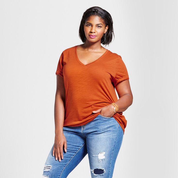 Women's Plus Size V-Neck T-Shirt - Ava & Viv Orange 4X, Kumquat