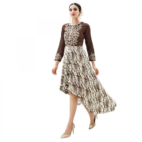 Brown And Cream  #kurtis&kurtas #designer kurtis available at ladyindia.com
