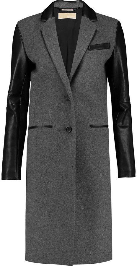 MICHAEL Michael Kors Leather-paneled wool-blend coat