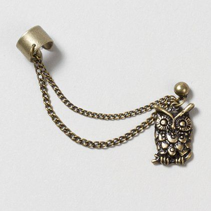 """""""Who"""" wouldn't love this Gold Owl Ear Cuff with Stud Earring and Chain?"""