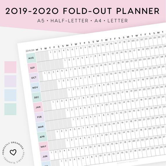 2019 2020 Fold Out Horizontal Planner Printable Keep An Overview