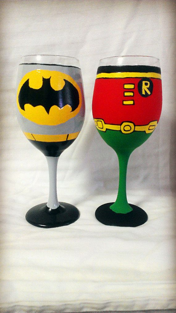 Batman and Robin inspired Hand Painted Wine by AWhimsicalHoot, $40.00