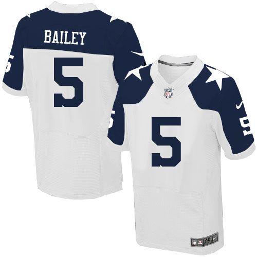 30f299c43ab ... Mens Nike Dallas Cowboys 5 Dan Bailey Elite White Throwback Alternate NFL  Jersey Sale ...