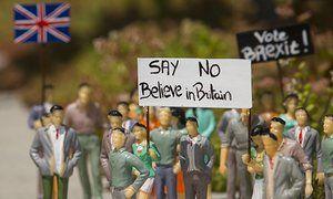 Miniature figures representing the EU debate at the Mini-Europe theme park, in Brussels.