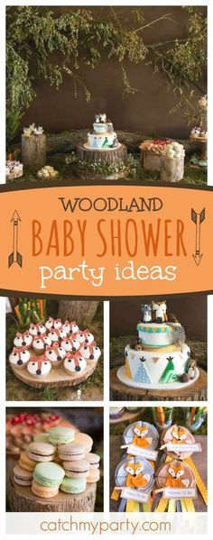 Don't miss this gorgeous Woodland Baby Shower. The fox cupcakes are so cute!! See more party ideas and share yours at CatchMyParty.com